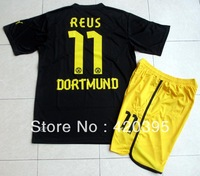 12/13 Dortmund Away Black Reus 11 Adult Size Short Sleeve Soccer Jersey Kit Football Uniform Shirt & Shorts W/ Logo Free Ship