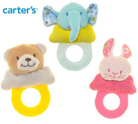Free shipping 3pcs/lot mix style carter's cartoon educational baby ratters with teething gel, infant educational toy