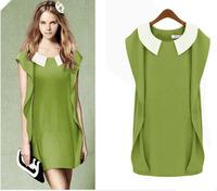 Elegant Quality Branded Women Peter Pan Collar Dress Patchwork Ruffle Sleeve Slim Short Dresses Free Shipping LY121412