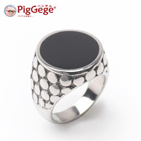 Piggege leather titanium ring male punk ring fashion personality jewelry male finger ring