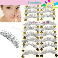 New 10 Pairs Handmade Fake False Eyelash Look Natural Transparent  Stem Free Shipping 8424