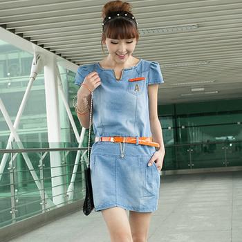 2013 summer denim one-piece dress slim one-piece dress metal v back zipper 643