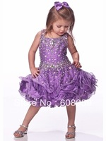 2013 Toddlers Beauty Pageant Spaghetti Straps Blue Pink Purple Beaded Mini Organza Baby Pageant Ball Gowns Flower Girl Dresses