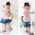 DZ-546,5 sets/lot 2013 New style baby clothing set cute girl print t-shirt+shorts 2 pcs suit summer infant clothes set wholesale