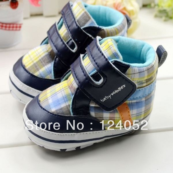 Free Shipping New Toddler Baby Boy Crib Soft Sole Shoes Plaid Slip On Sneakers Size 0-18 Month LKM010 DropShipping(China (Mainland))
