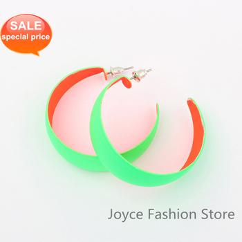 Min Order $10,Hot Earrings 2013 Fashion Designer Jewelry, Womens Earrings Fashion,Fluorescent Color Big Circle Wide Earrings E92