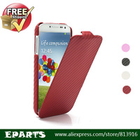 Free shipping Vertical Carbon Fiber Leather Case Shell for Samsung Galaxy S4 S IV i9500 i9505 Good Quality Fast Delivery