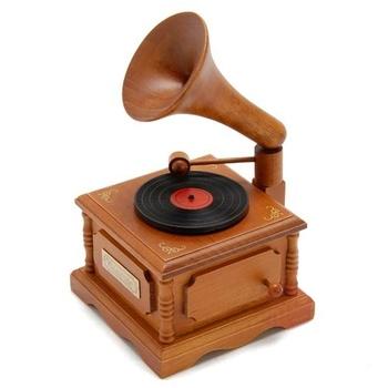 Wooden Phonograph Clockwork Music Box from Sankyo musical Design Gift