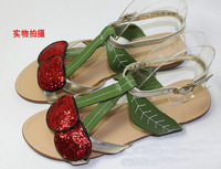 2014 Women Genuine Leather Shoes Patent Cherry Sequins Flat Roman Flat-Bottomed Sandals Free Shipping