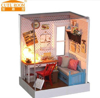 Free Shipping Kids Novelty Assembly Simulation Scenario Hut DIY House of Warm Memories With LED Lamps Glass House Toys
