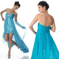 Sparkly A-line Sweetheart  FeatherTulle Short Front and Long Back Prom Dresses