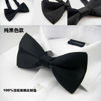 Male fashion black silk bow tie dinner party bow tie formal dress marriage bow tie bridegroom bow tie