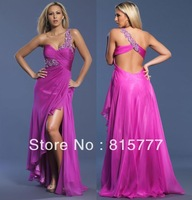 Cheap Simple One shoulder Blue Pink Beads Chiffon Long Formal Prom dresses