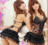 sexy lingerie Hot Black babydoll lace skirt nighty dress Flowers costume sexy sleepwear, intimates ,Free Size Free Shipping