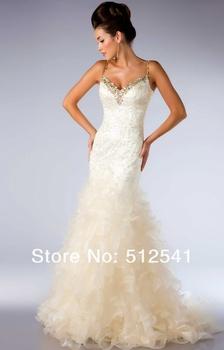 2013 New Arrival MAC Duggal MK08T44 Wedding Dresses Spaghetti Open Back Mermaid Organza Rhinestone Sequin Floor length