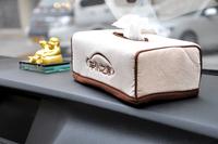 CHIEF CP697 High Quality 24*12*12cm Car Stereoscopic Tissue Box 100% Velvet cloth paper napkin holder-Beige(Business Type)