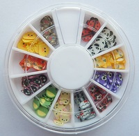 2014 new 8set nail wheel about 960Pcs Nail Art Tips Fimo UV Decoration Wheel Butterfly Flower Fruit DIY Slices tools set