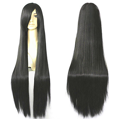 Capless Long 100% Imported Heat-resistant Natural Black Costume Party Wigs Free Shipping(China (Mainland))