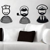 Free Shipping  Wall stickers Home Garden Wall Decor Vinyl Removable Art Mural Home decor Captain Sailor S-141