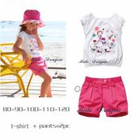 2013 Cute Summer Clothing Fashion baby girls sweet cartoon set child's soft wear kids white t-shirt + dark pink pants 2pcs suit