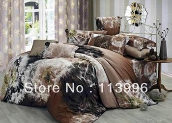 personality dandelion floral brown printed cotton 60s comforter bedding set queen bed girl bedspread duvet quilt cover sets