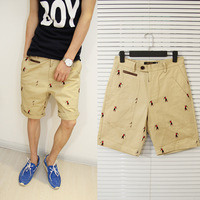 2013 summer personalized embroidery male casual shorts trend slim knee-length pants shorts