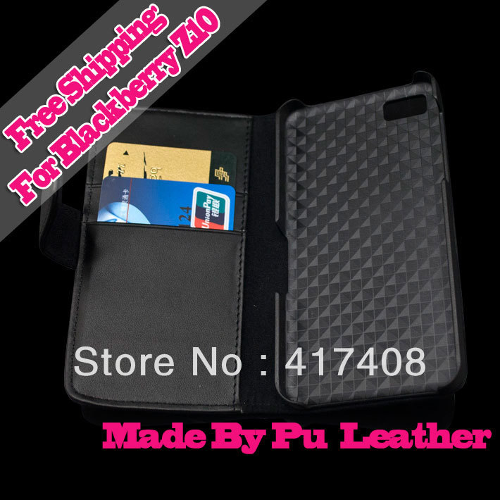 Z10 leather case Black Wallet Magnetic Flip Shell Cover Stand Case for BlackBerry Z10 Free Ship by HongKong Post 5pcs/lot(China (Mainland))