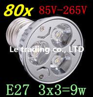 80pcs/lot Dimmable LED Lamp E27 3X3W 9W 85V-265V LED Light Bulbs Spotlight Free shipping