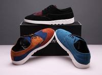 free shipping 2013 color block decoration male casual shoes platform shoes nubuck cowhide men's