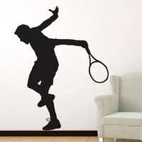 Free Shipping  High quality Carved(not print) wall decor decals home stickers art PVC vinyl Badminton Y-86