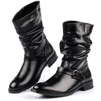 free shipping New arrival motorcycle boots male increased boots martin boots knee-high pointed toe leather male boots