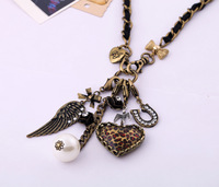 2013 New coming fashion heart vintage pendant necklace Factory Wholesale