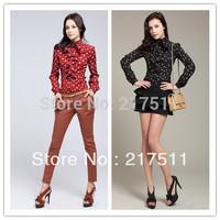Free Shipping 10080 Hot Sale Autumn Blouses 2014 Polka Dots Ruffle Plus Size Women Shirts OL Fashion Long Sleeve Blouses