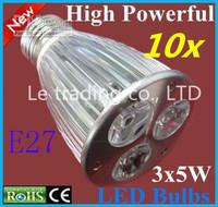 10pcs/lot E27 Dimmable 3X5W 15W 85V-265V LED Lamp LED Light Bulbs Spotlight Warm White/Cool White Free shipping