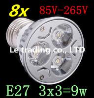 8pcs/lot Dimmable LED Lamp E27 3X3W 9W 85V-265V LED Light Bulbs Spotlight Free shipping