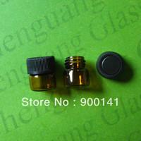 Amber 1ml glass bottle, glass vials, 1/5 Dram, Diameter 15mm, Hight 17mm, Neck Finish 13/425. Included  Black PP Foam Lined Caps