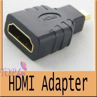 Wholesale  200pcs/lot Micro HDMI Male to HDMI Female Adapter Converter for Phone camera HD TV DVD adapter Free shipping