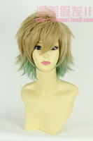 Amaimon Prince hairstyle green/flaxen mixed color medium 30cm cosplay wig CB03