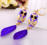 Min order $10 Fashion earring accessories purple women's owl earrings Factory Wholesale