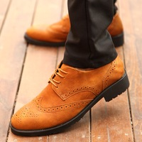 free shipping Brockden shoes male pointed toe leather trend vintage carved leather casual shoes male