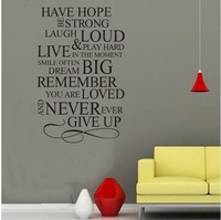 HAVE HOPE.. English Quote Vinyl Wall Stikers Removable Wall Art Decals Free Shipping