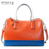 Freeshipping Color block 2013 the trend of fashion oil waxing leather cowhide portable women's handbag one shoulder bag