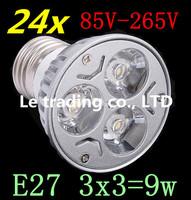 24pcs/lot Dimmable LED Lamp E27 3X3W 9W 85V-265V LED Light Bulbs Spotlight Free shipping