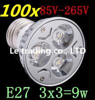 100pcs/lot Dimmable LED Lamp E27 3X3W 9W 85V-265V LED Light Bulbs Spotlight Free shipping