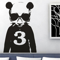 Free Shipping  High quality Carved(not print) wall decor decals home stickers art PVC vinyl Game Panda Y-91