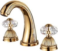 Free shipping basin waterfall faucet  Widespread Bathroom Sink Faucet crystal handles faucet