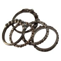Fashion Vintage Retro Style Rhinestone Beads 5pcs Rings Set Ring  P-100