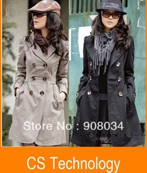 [C-630] 2013 Hot Womens Lady Double Breasted Long Jacket Coat Outwear(China (Mainland))