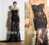 2013 Hot Sexy Sweetheart Appliques Blake Zuhair Murad Chiffon Pleat See through Long Lace Dresses Court Train Prom Evening Gowns