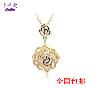 Camellia necklace female short design chain long design crystal pendant necklace cutout necklace girlfriend gifts